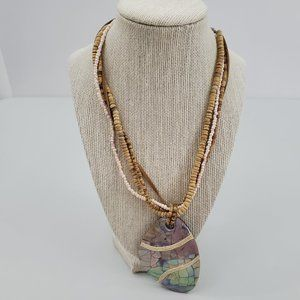 Coldwater Creek Necklace Abalone Mother of Pearl W